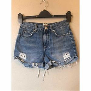 Topshop Moto Rosa High Waisted Ripped Denim Shorts